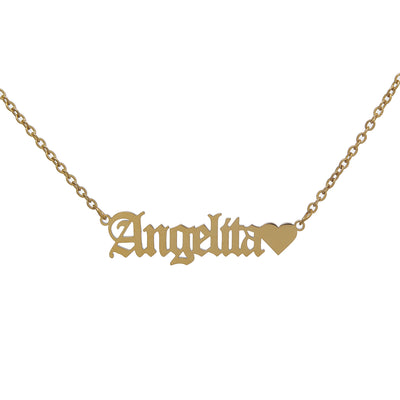 Adorable Gold-Plated Chain Necklace with Heart Nameplate Pendant