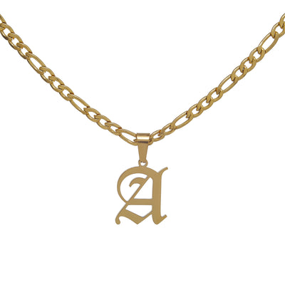 High-Class Gold Figaro Chain Necklace with Old English Initial Pendant