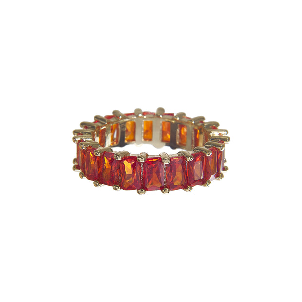 Cute tarnish-free multi-color classic crystal ring in 4 colors - orange