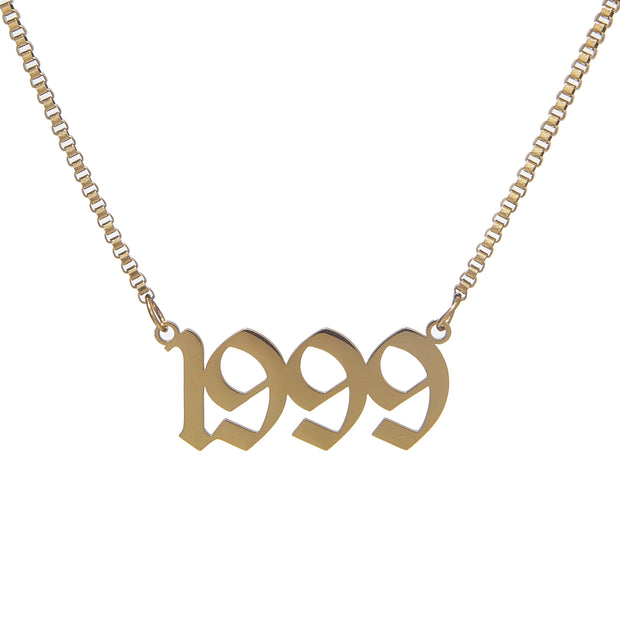 Box Chain Old English Birthdate Necklace