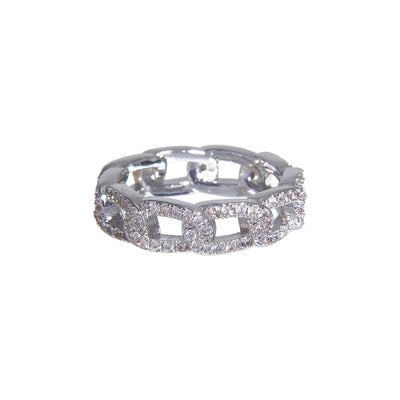 Fancy hypoallergenic iced chain link ring with shiny silver studs