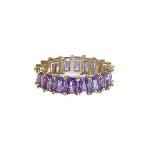 Cute tarnish-free multi-color classic crystal ring in 4 colors - purple