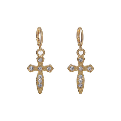 Elegant 24K gold-plated copper iced cross huggies earrings with crystal studs