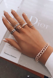 Stylish stainless steel thick chain link ring - worn 4