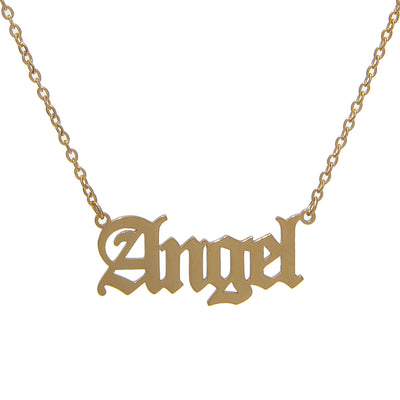Stylish 18K gold-plated stainless steel necklace with angel nameplate pendant - old english