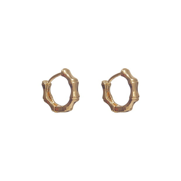Stylish Gold Mini Bamboo Huggie Earrings