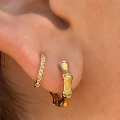Elegant Gold Mini Bamboo Huggies Earrings with Simple Stack Huggie Earrings