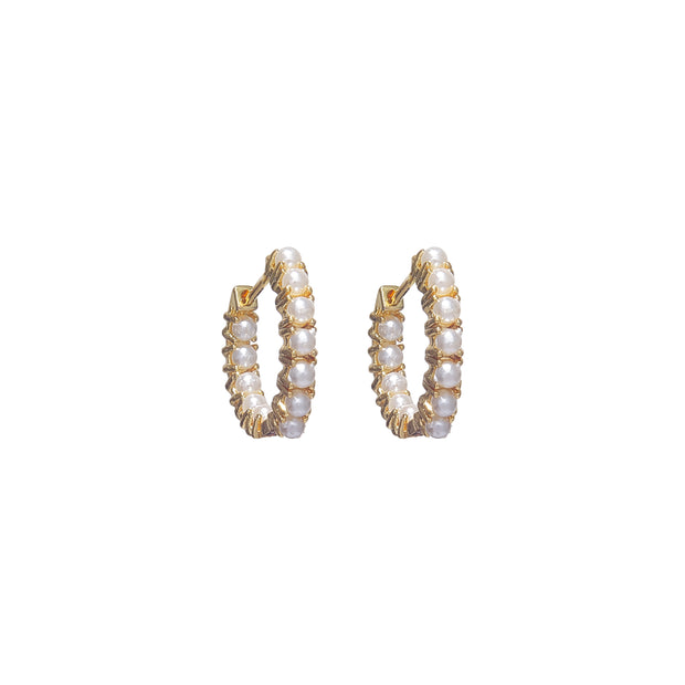 Classy high-fashion mini pearl hoops earrings - gold
