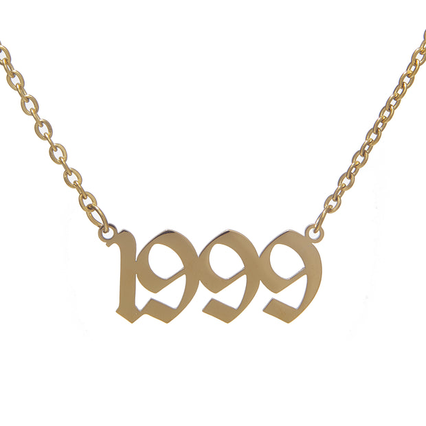 Elegant Copper Chain Necklace with Customized Birthdate Pendant - 1999