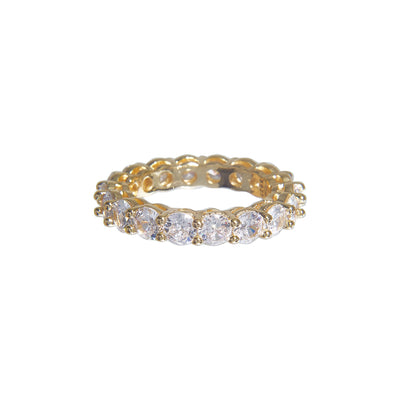 Stylish iced band ring with crystal studs - gold