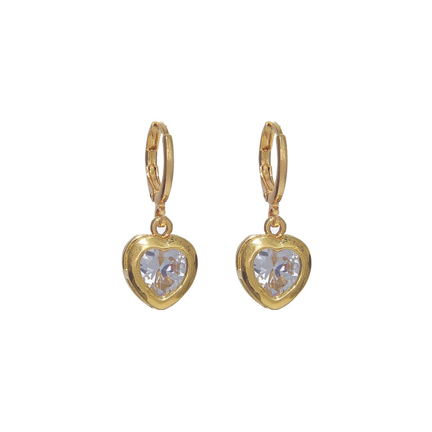 Stylish 24k gold-plated crystal heart huggies earrings