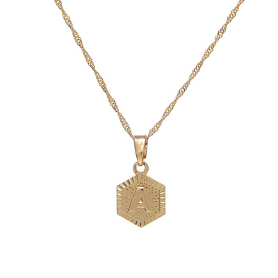 Stylish custom gold initial hexagon pendant necklace - 18k gold plated
