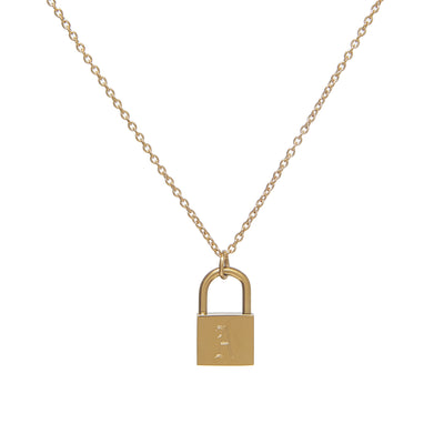 Classic Gold Chain Necklace with Old English Lock Pendant