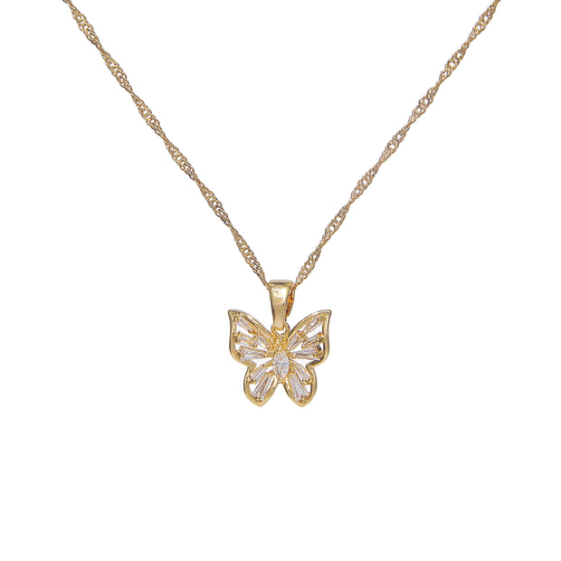 Elegant 18k gold plated copper necklace with iced butterfly pendant