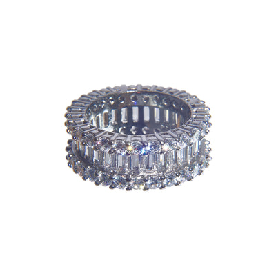 Dazzling Sterling Silver Stacked Iced Ring