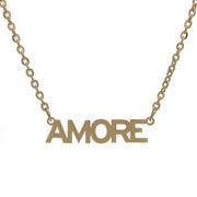 Fancy Non-Tarnish Gold Chain Necklace with Amore Pendant