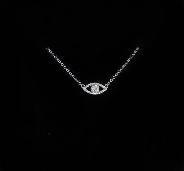 Trendy evil eye pendant necklace with crystal in center - silver