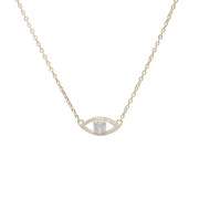 Trendy evil eye pendant necklace with crystal in center - gold