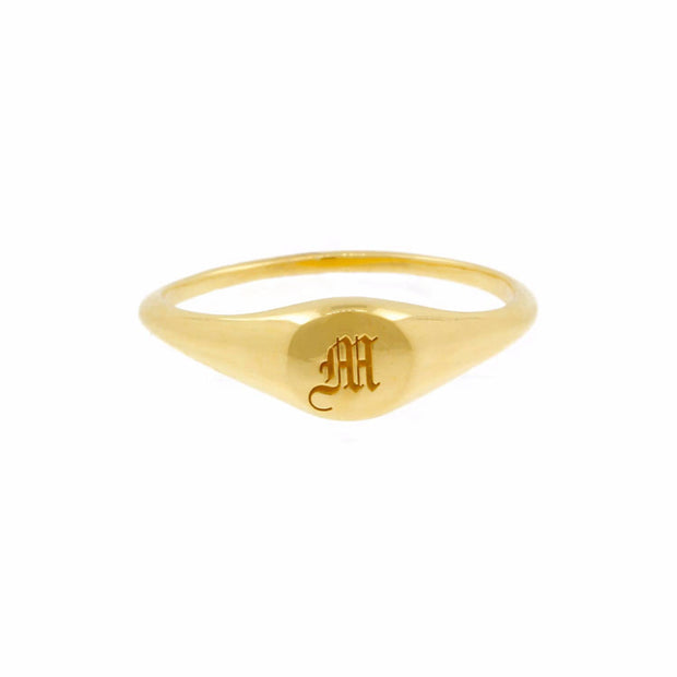 Tarnish-Free Gold Old English Signet Ring