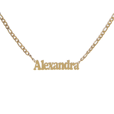 Exquisite Gold Chain Figaro Necklace with Customized Name