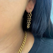 Modish Tarnish-Free Gold Chained Earrings - Worn