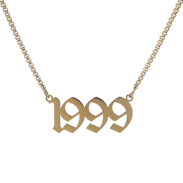 Classic stainless steel custom box chain necklace with old english birthdate pendant - gold