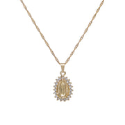 Elegant gold iced mary pendant necklace