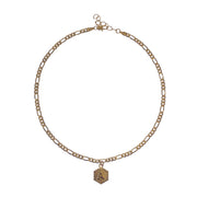 Stylish custom 1-letter hexagon initial plate anklet with extension - gold