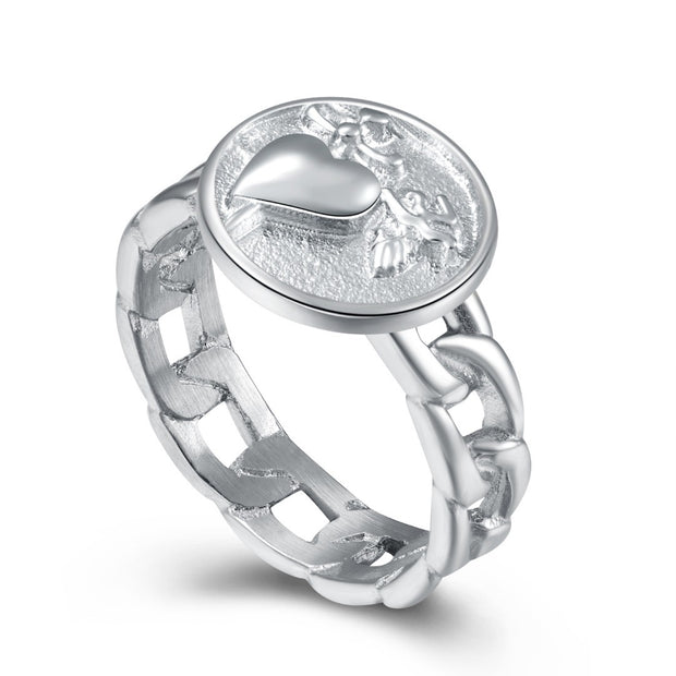 Classic Silver Heart & Dagger Chain Link Ring