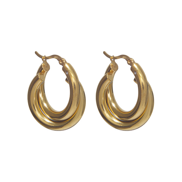 Non-Tarnish Gold Interlocked Hoop Earrings