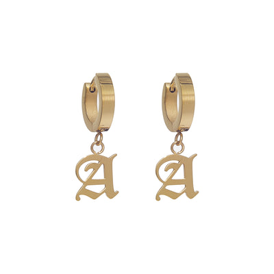 Cute Gold-Plated Huggie Earrings with Old English Initial Pendant