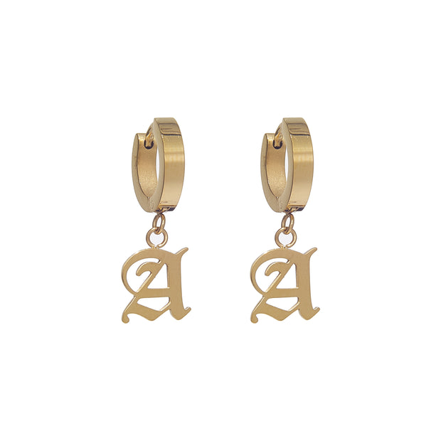 Old English Huggie Earrings