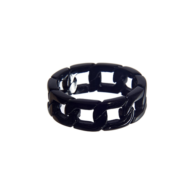 Stylish stainless steel thick chain link ring - black
