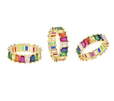 Cute colorful mini iced rainbow ring with stones