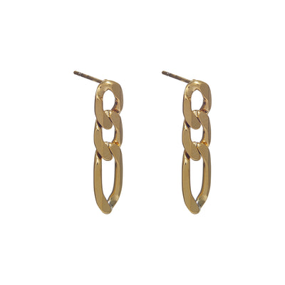 Tarnish-Free Gold Chain Figaro Studs Earrings