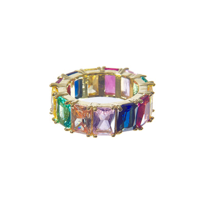 Colorful iced rainbow ring - gold