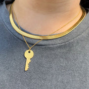 Tarnish-Free Gold Chain Necklace with Locked Pendant - Worn