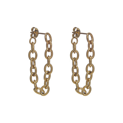 Modish Tarnish-Free Gold Chained Earrings