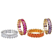 Cute tarnish-free multi-color classic crystal ring in 4 colors