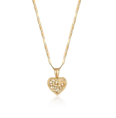 Tarnish-Free Gold Chain Necklace with Te Amo Pendant