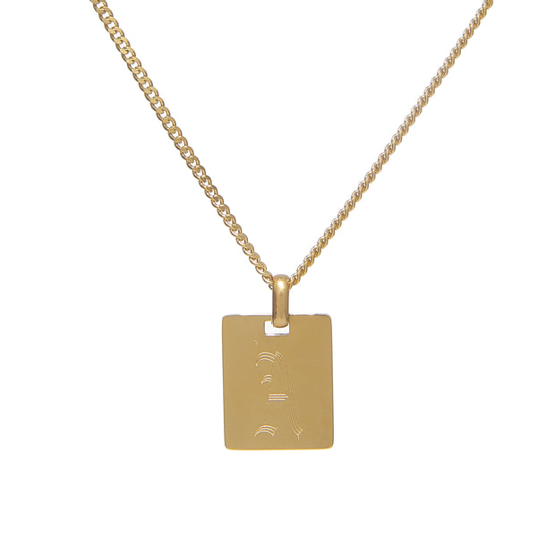 Tarnish-Free Chain Necklace with Old English Tag