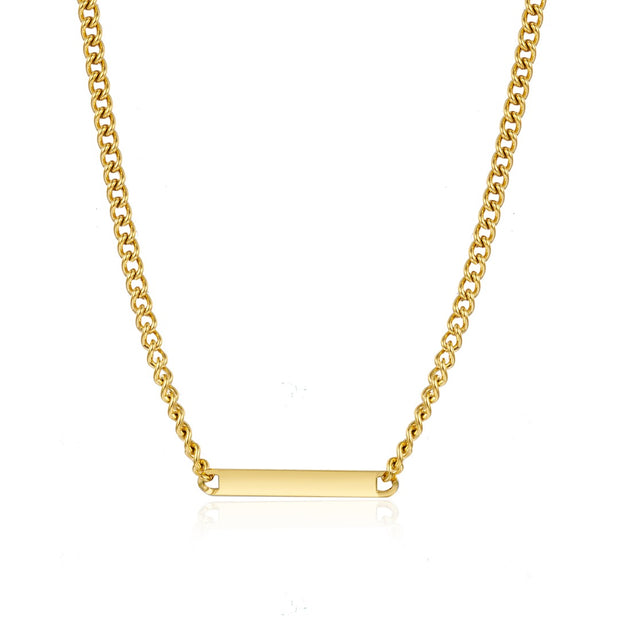 tarnish-free gold bar necklace with thick link chain