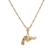 Classic gold pistol pendant necklace