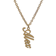 Personalized gold chain necklace with vertical script nameplate pendant