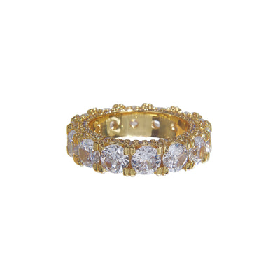 Classy copper and zirconia diamond studded iced ring - gold
