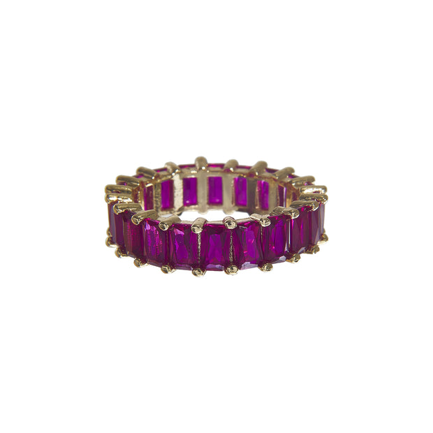 Cute tarnish-free multi-color classic crystal ring in 4 colors - pink