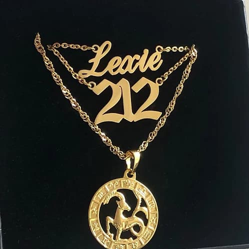 Cool custom script nameplate necklace lexie set with custom area code and horoscope pendant
