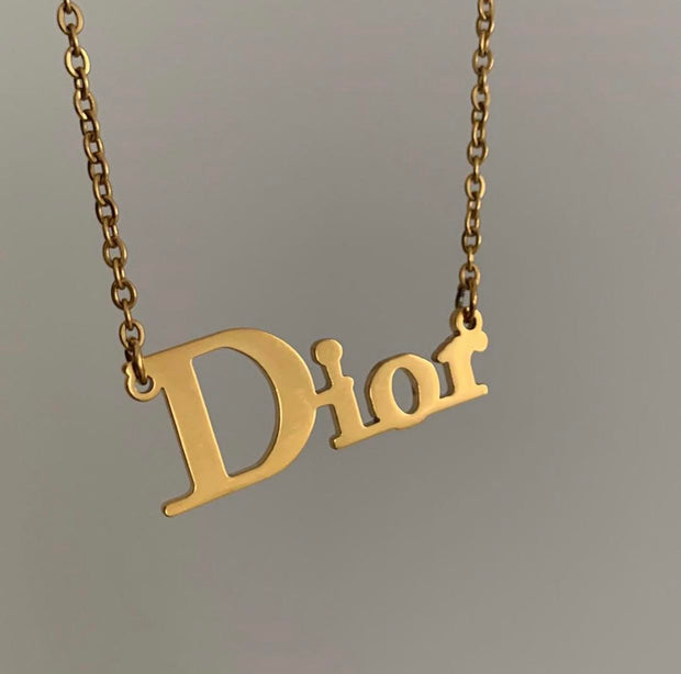 Elegant Chain Necklace with High Fashion Nameplate Pendant - Dior 3