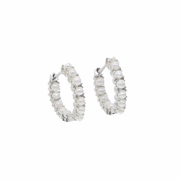 Classy high-fashion mini pearl hoops earrings - silver
