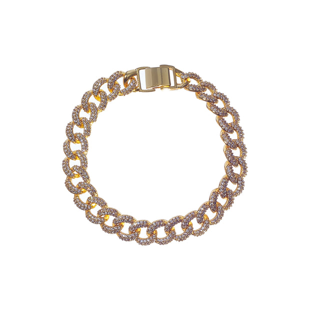 Luxurious iced cuban link bracelet with gold and silver studs